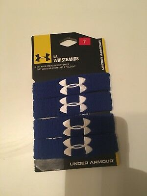 New Under Armour 1 Inch Performance Unisex Wristbands, 4 Pack, Blue