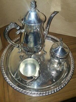 EXCELLENT LEONARD SILVER Co. 4Pc Silver-Plated Coffee/Tea Set (5002 ...