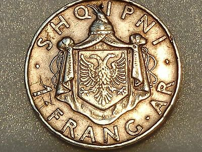 Albania 1937 R silver 1 Frang Ar Franc King Zog I Rome mint nice grade uncleaned