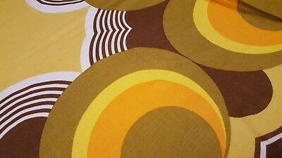 Awesome RARE Vintage Mid Century retro 70s op art circle tablecloth fabric! LOOK