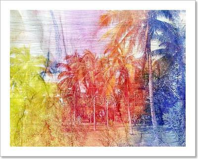 Watercolor Retro Tropical Palms Art Print Home Decor Wall Art Poster - H