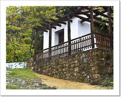 Old Greek Traditional Wood-Stone House Art Print Home Decor Wall Art Poster - E