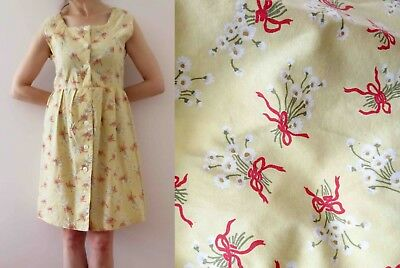 60s Buttermilk Ivory Red Bow Print Dress Small Free Postage for 3 + items