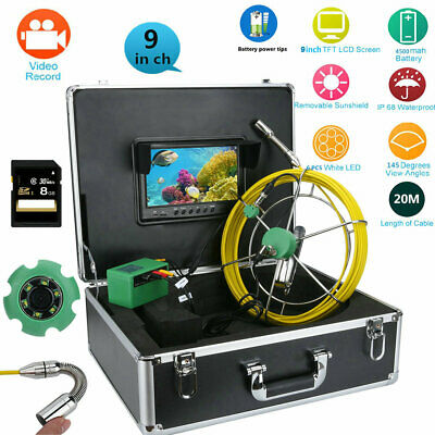 "20M 9"" DVR 1000TVL Camera Waterproof Drain Pipe Sewer Inspection System+8G Card"