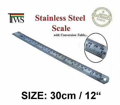 30cm Stainless Steel Metal Scale Ruler Rule Precision Double Sided
