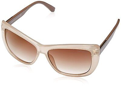 7d18d16a12fe TOM FORD Women s TF 434 Lindsay 57G Clear Beige Brown Butterfly Sunglasses  58mm