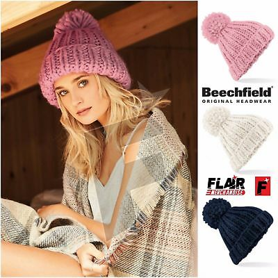 Beechfield Luxury Oversized Hand Knitted Bobble Beanie Hat Chunky Winter Warm