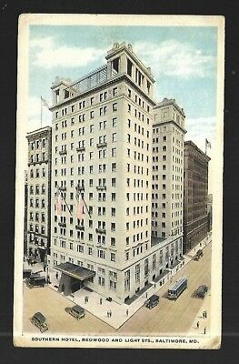 Vintage Postcard Southern Hotel Baltimore Maryland Trolley Old Cars