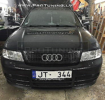 For Audi A4 B5 Front RS4 Grill Debadged BLACK BADGELESS hood Grille Mesh Upper S