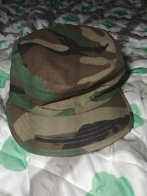 US Military Issue Army Ranger Combat Cap Green Camo Hat Size Small 7 EUC