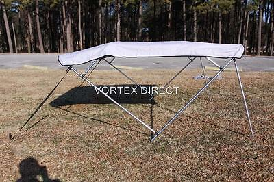 "NEW VORTEX GREY/GRAY 4 BOW PONTOON/DECK BOAT BIMINI TOP 12' long 79-84"" wide"