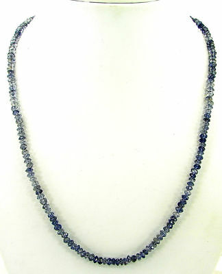 "48 Ct Natural Blue Iolite Gemstone Rondelle Beads Necklace 17.5"" String - B167"