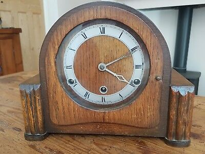 Vintage British Made Mantle Clock  - Working, Needs A Key - Westminster Chime