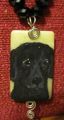 Flat Cpated Retriever hand painted on rectangular, wire wrapped pendant/bead/nec