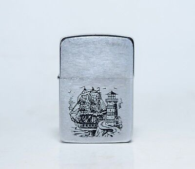 Collectible PAT. 2032695 Zippo MFG CO Scrimshaw Ship Engraved Windproof Lighter