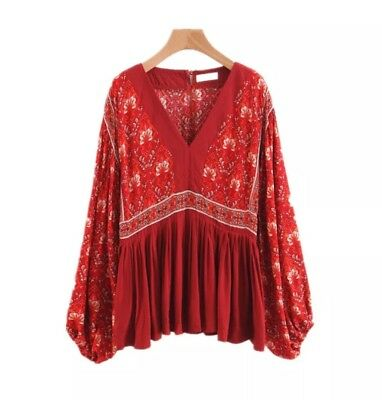 RUST RED BOHO FREE CHIC BOHEMIAN ethnic floaty designer hippy blouse top 10 12