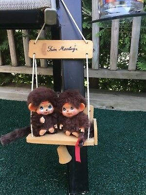 Vintage, Old Monchhichi Baby Twins, on swinging bench