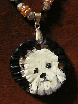Dandie Dinmont Terrier hand painted on round Murano Glass pendant/bead/necklace