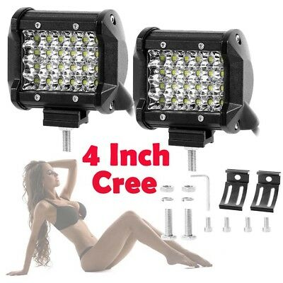 2x 4 inch 788W Flood LED Light Bar Offroad Boat Work Driving Fog Lamp 12V 24V 5""