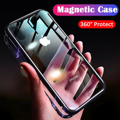 Luxury Magnet Shockproof 360° Gorilla Glass Case Cover for iPhone X 8 7 6S Plus