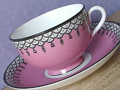 Antique 1920's England pink black and white art deco bone china tea cup teacup