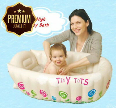 Tiny Tots Baby Infant Travel Inflatable Bath Tub Cream Colour