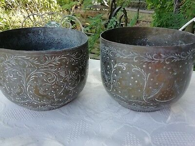 Pair of Antique Indian Hand Engraved Brass Planters Plant Pots Circa 1900