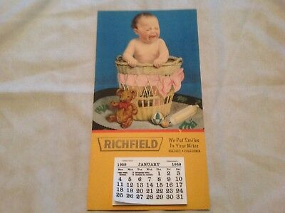 1959 Richfield Oil Calendar With Baby Graphics, Needles, California