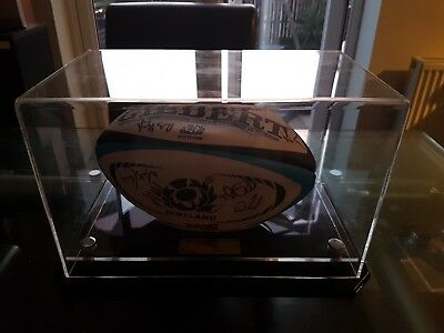 Signed Scotland Rugby Ball And Display Case 2012 six nations squad