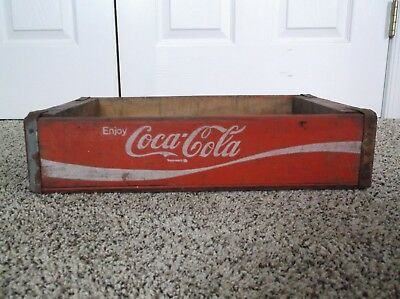 Vintage 1971 Wooden Red Coca-Cola Soda Bottle Crate, Chattanooga