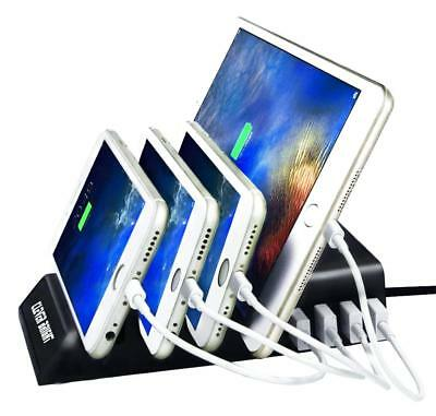 4 USB Port Charging Station Dock Stand Desktop Multi Charger Hub f.Phone Tablet