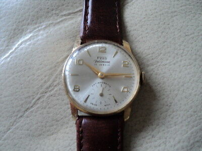 VINTAGE 1960,s FERO FELDMANN, 17 JEWELS MENS SWISS MADE MECHANICAL WATCH.WORKING