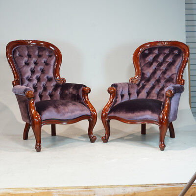 Beautiful pair of Traditional Grandfather Fireside Arm Chairs in Mahogany