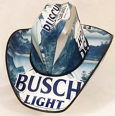 82cbb33432c Beer Box Cowboy Hat Made from recycled Busch Light Beer boxes NASCAR Stetson