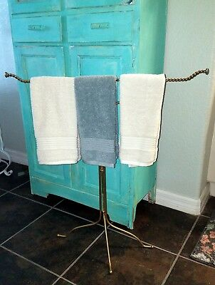 Vintage gold metal towel stand free standing Hollywood Regency french style