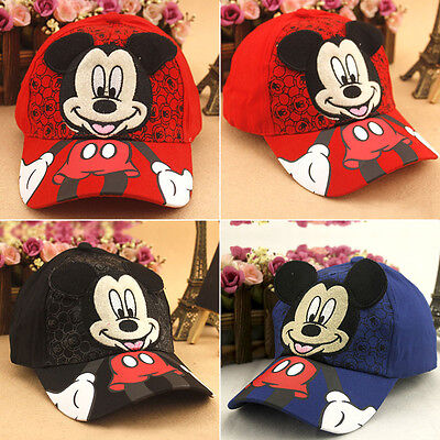 Kids Boys Girl Mickey Mouse Baseball Cap Snapback Adjustable Hat Children Cute
