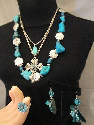 Vintage Southwest Faux Turquoise Silver Jewelry Lot Necklaces Earrings Ring 5pc