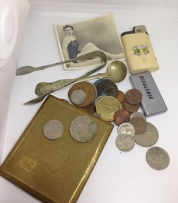 Collection of Vintage Coins, Cutlery, Cig Case Collectables Mixed / Job Lot.