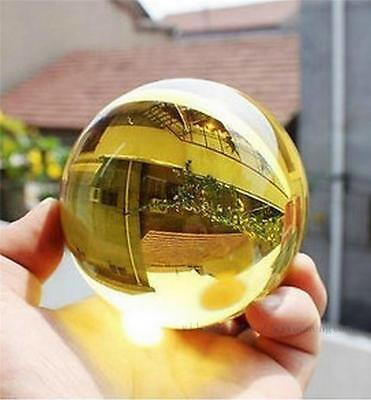 Asian Rare Natural Quartz Yellow Magic Crystal Healing Ball Sphere 40mm + Stand