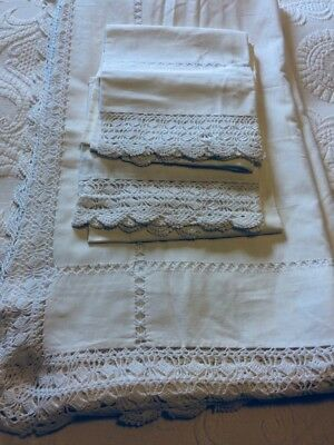 Antique White cotton set of hand crocheted and drawn sheet pair of pillowcases