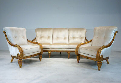 Beautiful 3 seater Sofa and 2 chairs with stunning antique gold leaf