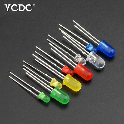 100Pcs 3mm/5mm 2 Pins Round Green Yellow Red Blue Light LED Emitting Diode DE0E