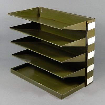 Vintage Desk Top or Wall Mounted Office Filing Trays Green Metal Mid Century