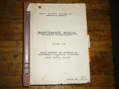 RARE Douglas DC-3 original Maintenance Manual from North Central Airlines