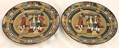Old Buffalo Pottery Deldare Ware Ye Olden Times Pair Luncheon Plates Signed