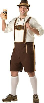 German Oktoberfest Men's Halloween Party Costume with Lederhosen & Hat Plus Size