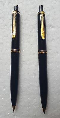 Vintage Pelikan Old Style 200 Series Ballpoint & Pencil In Black With Gold Trim