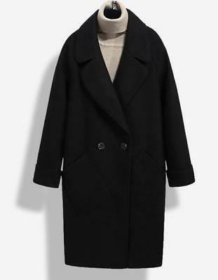 Womens Cashmere Wool Blend Lapel Black Trench Outerwear Double Breasted Coat F21