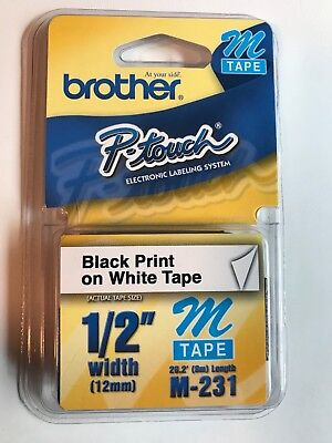 """Brother M231 P-touch Label Tape 1/2"""" Black on White 31 Count"""