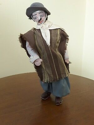 Vintage Gaucho with Bolas and Lasso South American Cloth Doll Hand Made